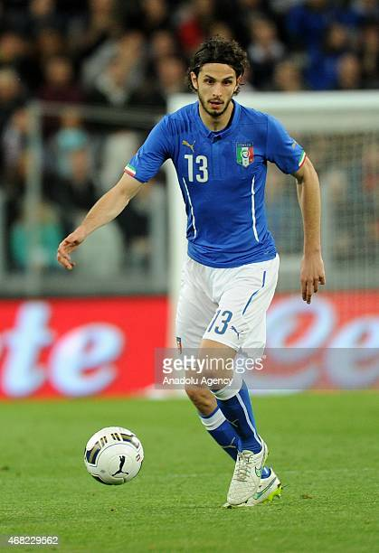 Andrea Ranocchia in action of Italy during the international friendly match between Italy and England at the Juventus Arena on March 31 2015 in Turin...