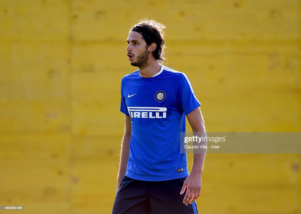 Andrea Ranocchia looks on during FC Internazionale training session at Riscone di Brunico on July 9, 2015 in Bruneck, Italy.