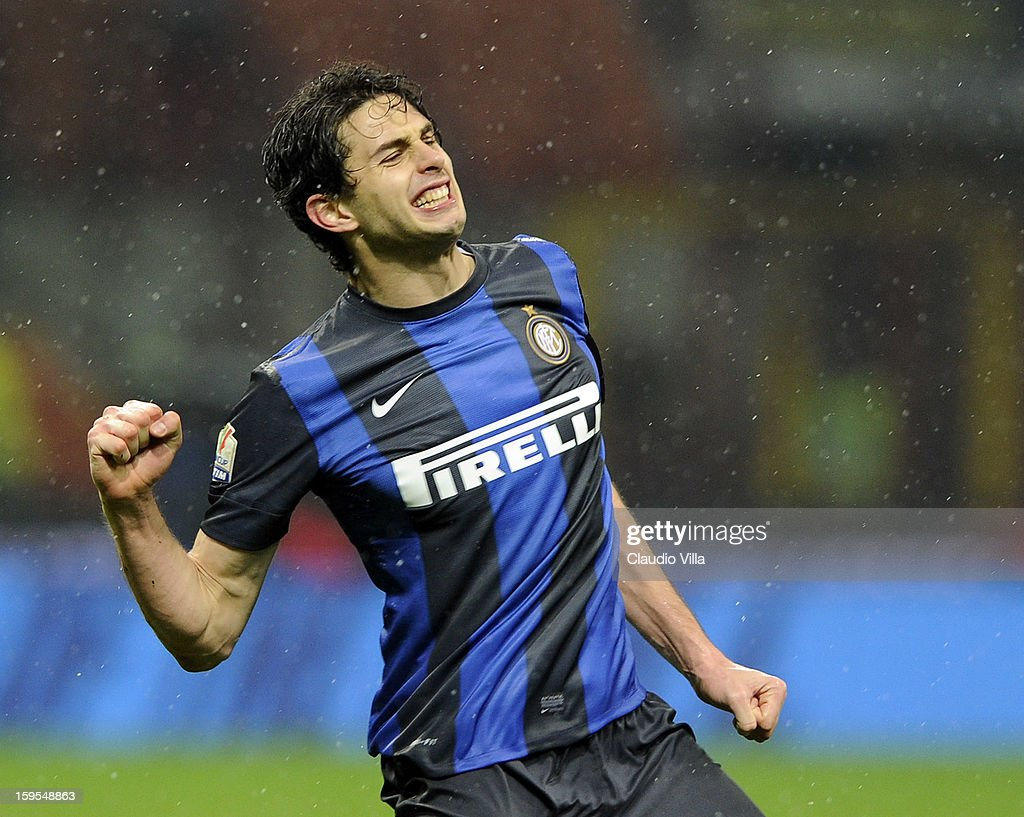 <a gi-track='captionPersonalityLinkClicked' href=/galleries/search?phrase=Andrea+Ranocchia&family=editorial&specificpeople=4085825 ng-click='$event.stopPropagation()'>Andrea Ranocchia</a> of FC Inter celebrates scoring the third goal during the TIM cup match between FC Internazionale Milano and Bologna FC at Stadio Giuseppe Meazza on January 15, 2013 in Milan, Italy.