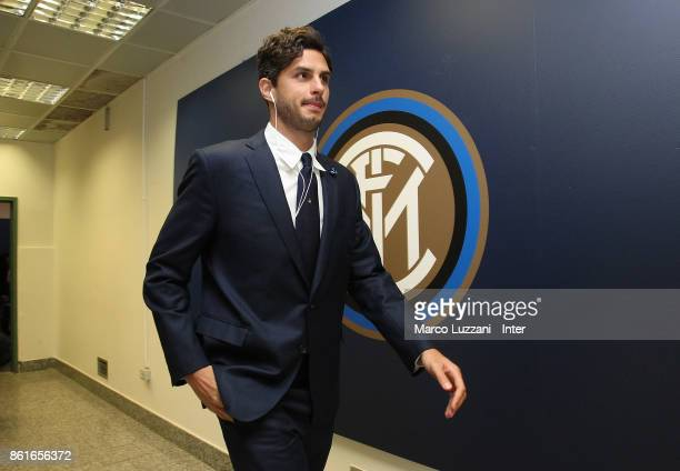 Andrea Ranocchia of FC Internazionale arrives prior to the Serie A match between FC Internazionale and AC Milan at Stadio Giuseppe Meazza on October...
