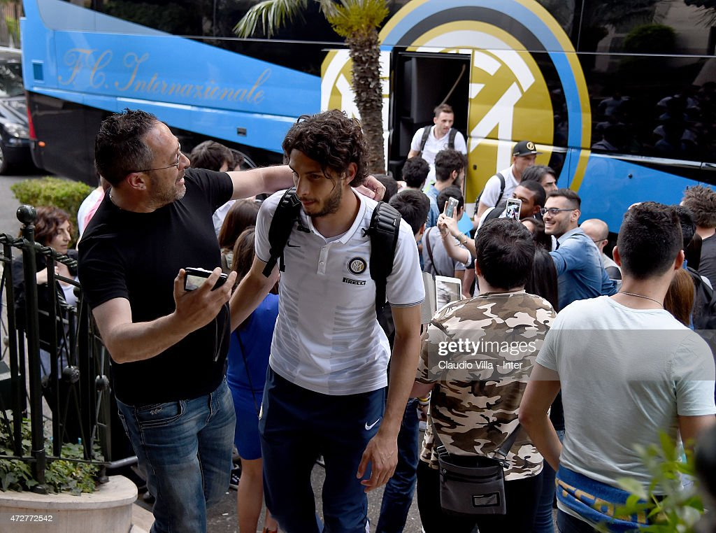 Andrea Ranocchia of FC Internazionale arrives to Rome on May 9, 2015 in Rome, Italy.