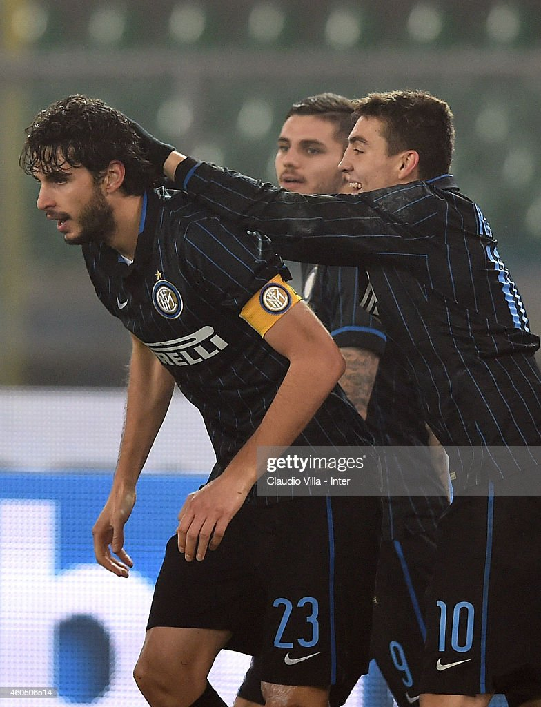 Andrea Ranocchia of FC Internazionale (C) celebrates after scoring the second goal during the Serie A match between AC Chievo Verona and FC Internazionale Milano at Stadio Marc'Antonio Bentegodi on December 15, 2014 in Verona, Italy.