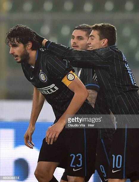 Andrea Ranocchia of FC Internazionale celebrates after scoring the second goal during the Serie A match between AC Chievo Verona and FC...