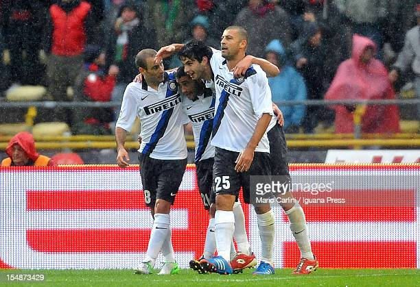 Andrea Ranocchia of FC Internazionale celebrates with his teammates after scoring their first goal during the Serie A match between Bologna FC and FC...