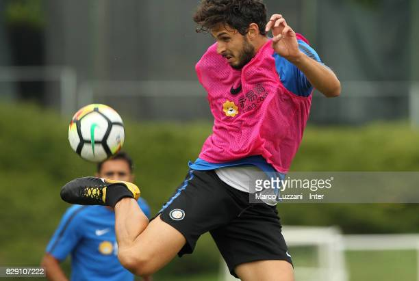 Andrea Ranocchia of FC Internazionale controls the ball during the FC Internazionale training session at the club's training ground Suning Training...