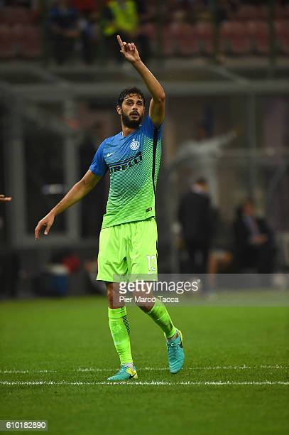Andrea Ranocchia of FC Internazionale gestures during the UEFA Europa League match between FC Internazionale Milano and Hapoel BeerSheva FC at Stadio...