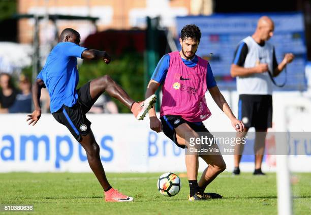 Andrea Ranocchia of FC Internazionale in action during the FC Internazionale training session on July 7 2017 in Reischach near Bruneck Italy