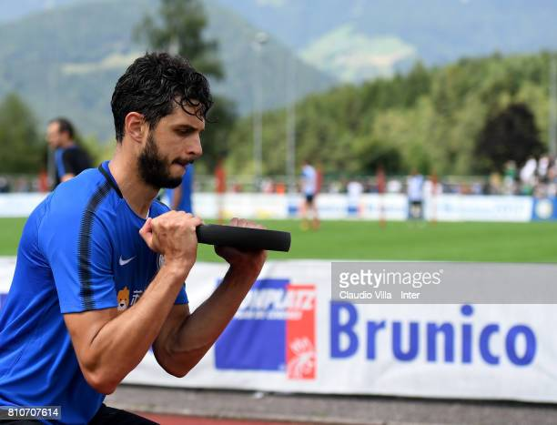 Andrea Ranocchia of FC Internazionale in action during the FC Internazionale training session on July 8 2017 in Reischach near Bruneck Italy