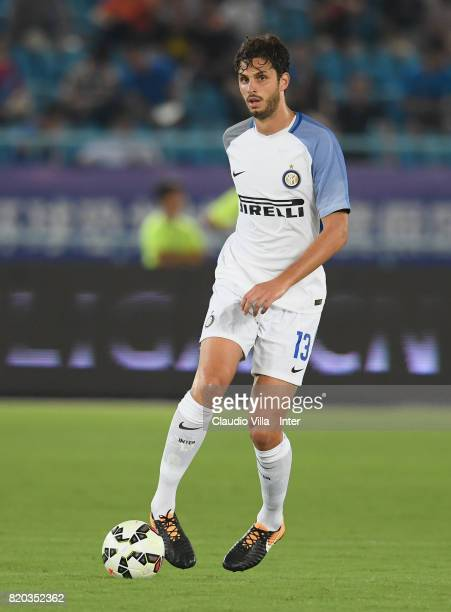 Andrea Ranocchia of FC Internazionale in action during the preseason friendly match between FC Internazionale and FC Schalke 04 at Olympic Stadium on...
