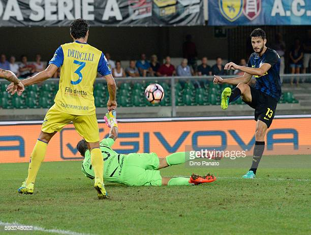 Andrea Ranocchia of FC Internazionale in action during the Serie A match between AC ChievoVerona and FC Internazionale at Stadio Marcantonio...