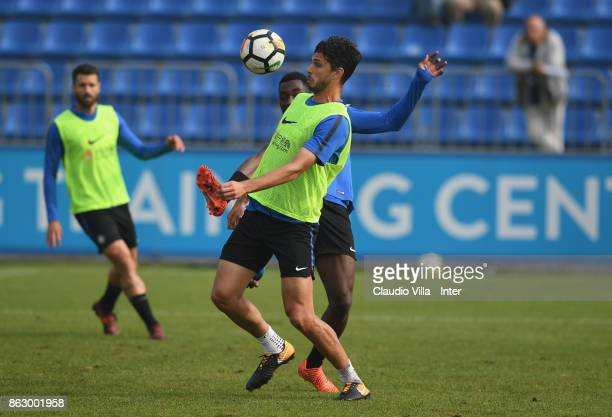 Andrea Ranocchia of FC Internazionale in action during the training session at Suning Training Center at Appiano Gentile on October 19 2017 in Como...