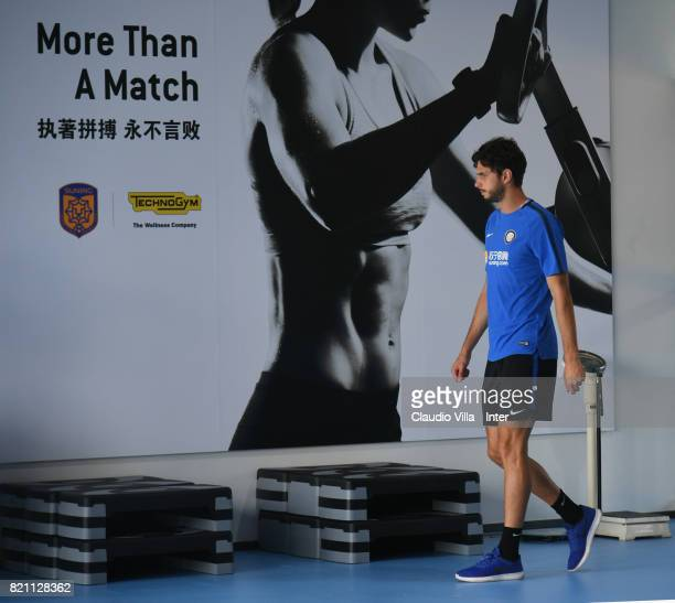 Andrea Ranocchia of FC Internazionale looks on during a FC Internazionale training session at Suning training center on July 23 2017 in Nanjing China