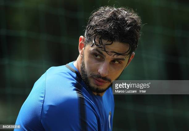 Andrea Ranocchia of FC Internazionale looks on during the FC Internazionale training session at the club's training ground Suning Training Center in...
