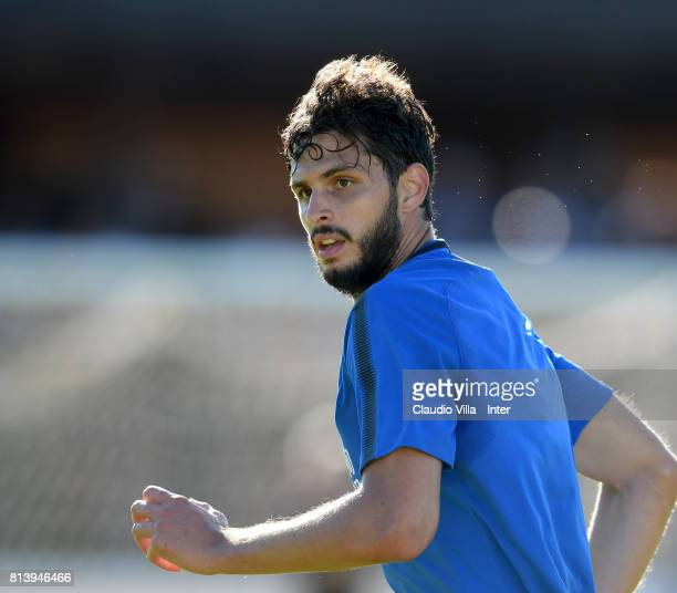 Andrea Ranocchia of FC Internazionale looks on during the FC Internazionale training session on July 13 2017 in Reischach near Bruneck Italy