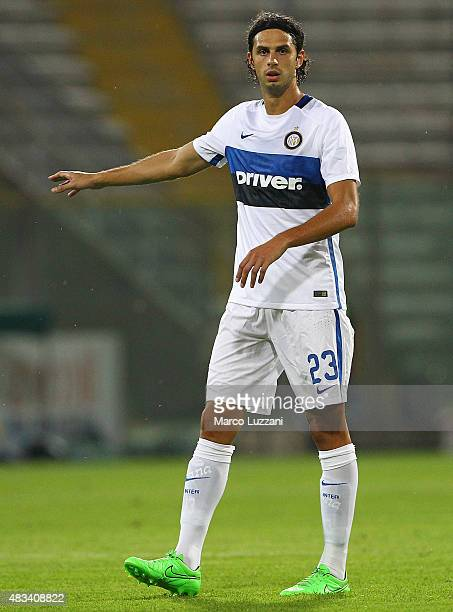Andrea Ranocchia of FC Internazionale Milano gestures during the preseason friendly match between FC Internazionale and Athletic Club Bilbao at...