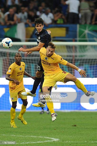 Andrea Ranocchia of FC Internazionale Milano goes up with Leonardo Perez of AS Cittadella during the TIM cup match between FC Internazionale Milano...