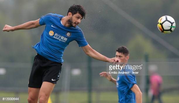 Andrea Ranocchia of FC Internazionale Milano jumps for the ball during a FC Internazionale training session on July 10 2017 in Reischach near Bruneck...