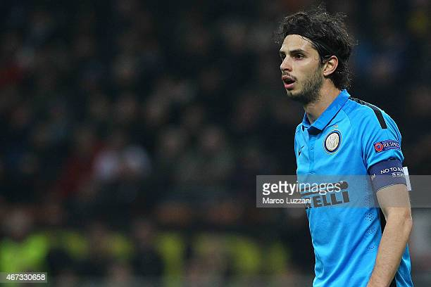 Andrea Ranocchia of FC Internazionale Milano looks on during the UEFA Europa League Round of 16 match between FC Internazionale Milano and VfL...