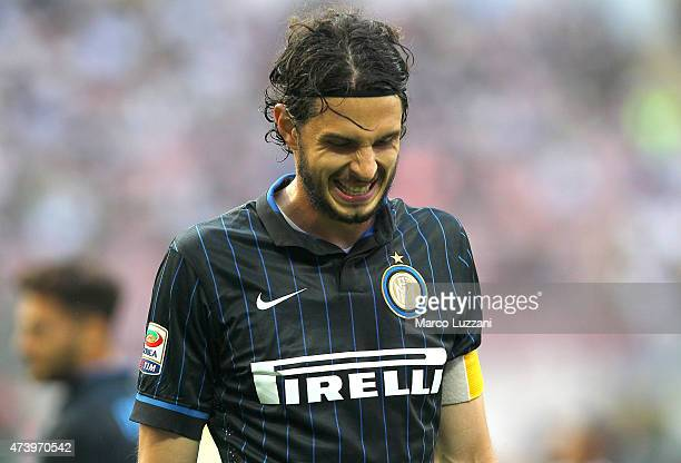 Andrea Ranocchia of FC Internazionale Milano reacts during the Serie A match between FC Internazionale Milano and Juventus FC at Stadio Giuseppe...