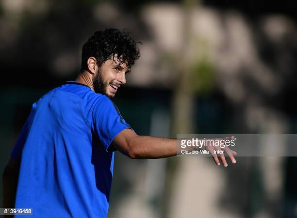 Andrea Ranocchia of FC Internazionale reacts during the FC Internazionale training session on July 13 2017 in Reischach near Bruneck Italy