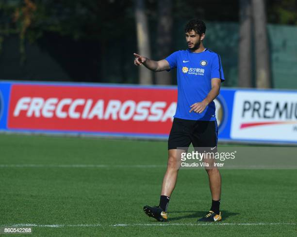 Andrea Ranocchia of FC Internazionale reacts during the training session at Suning Training Center at Appiano Gentile on October 12 2017 in Como Italy