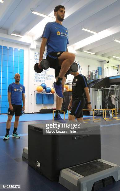 Andrea Ranocchia of FC Internazionale trains in the gym during the FC Internazionale training session at the club's training ground Suning Training...
