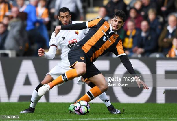 Andrea Ranocchia of Hull City and Etienne Capoue of Watford in action during the Premier League match between Hull City and Watford at the KCOM...