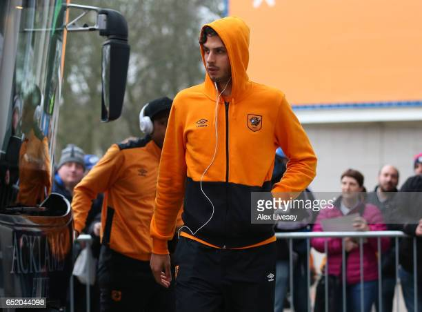 Andrea Ranocchia of Hull City arrives at the stadium prior to the Premier League match between Hull City and Swansea City at KCOM Stadium on March 11...