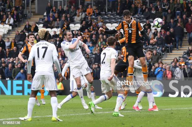 Andrea Ranocchia of Hull City heads at goal during the Premier League match between Hull City and Sunderland at KCOM Stadium on May 6 2017 in Hull...