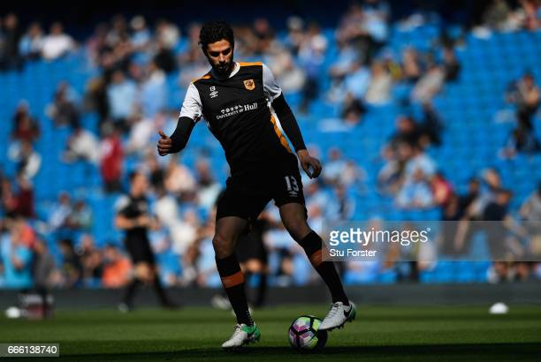 Andrea Ranocchia of Hull City warms up prior to the Premier League match between Manchester City and Hull City at Etihad Stadium on April 8 2017 in...