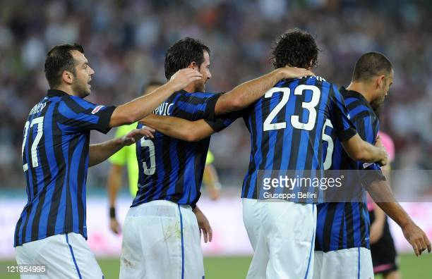 Andrea Ranocchia of Inter Milan celebrates after scoring the 11 equaliser during the TIM preseason tournament match between FC Internazionale and...