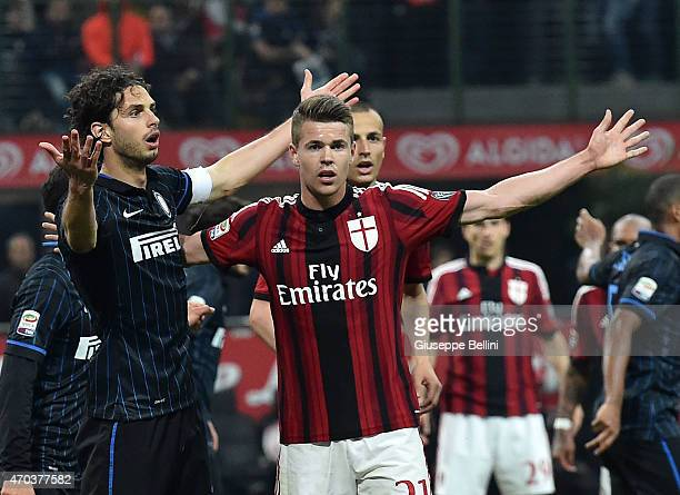 Andrea Ranocchia of Internazionale Milano and Marco Van Ginkel of Milan in action during the Serie A match between FC Internazionale Milano and AC...
