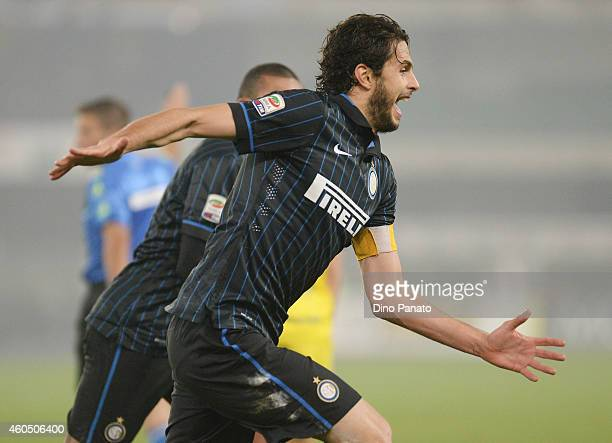 Andrea Ranocchia of Internazionale Milano celebrates after scoring his team's second goal during the Serie A match between AC Chievo Verona and FC...