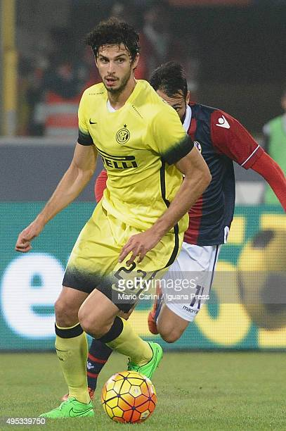 Andrea Ranocchia of Internazionale Milano in action during the Serie A match between Bologna FC and FC Internazionale Milano at Stadio Renato...