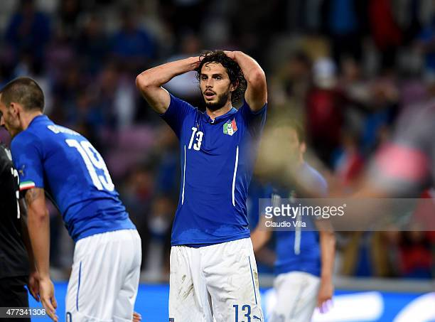 Andrea Ranocchia of Italy dejected at the end of the international friendly match between Portugal and Italy at Stade de Geneve on June 16 2015 in...