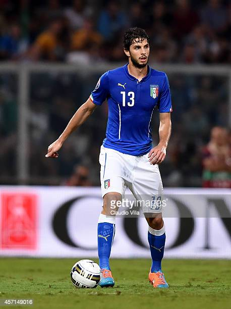 Andrea Ranocchia of Italy in action during the EURO 2016 Group H Qualifier match between Italy and Azerbaijan at Stadio Renzo Barbera on October 10...
