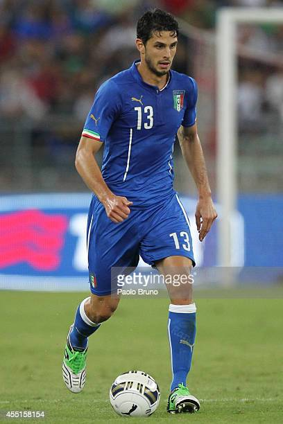 Andrea Ranocchia of Italy in action during the international friendly match between Italy and Netherlands at Stadio San Nicola on September 4 2014 in...