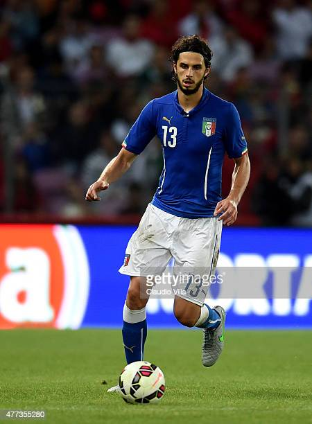 Andrea Ranocchia of Italy in action during the international friendly match between Portugal and Italy at Stade de Geneve on June 16 2015 in Geneva...