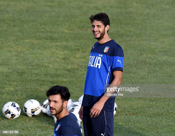 Andrea Ranocchia smiles during an Italy training session at Coverciano on September 01 2015 in Florence Italy