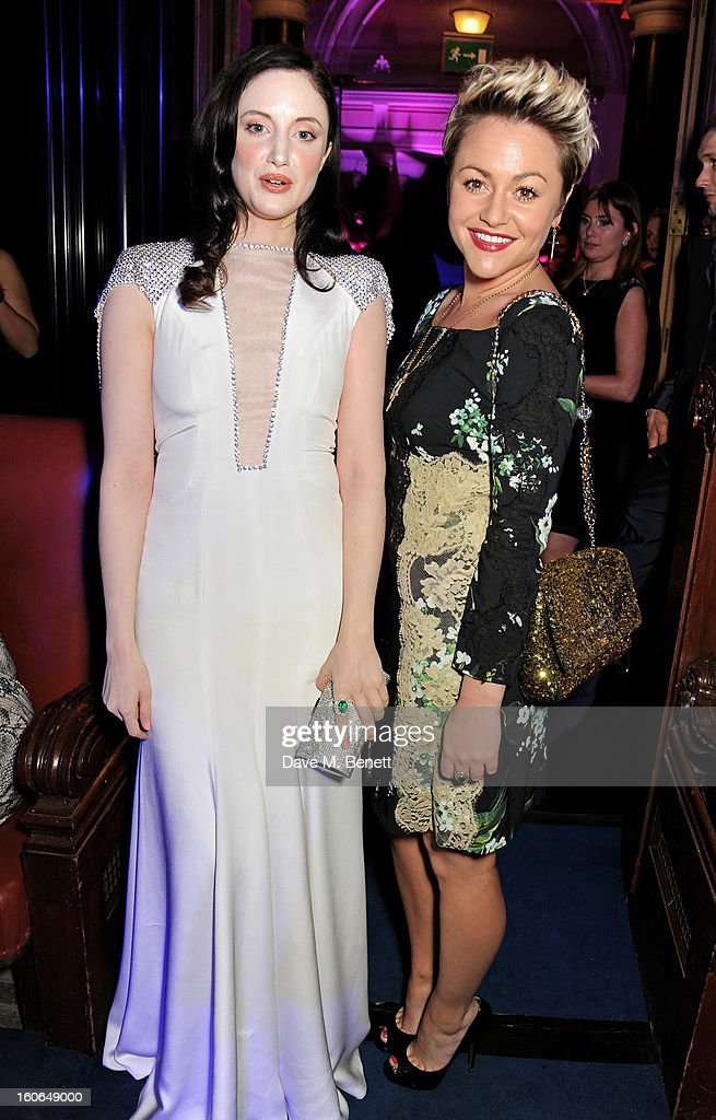 Andrea Riseborough (L) and Jaime Winstone attend the London Evening Standard British Film Awards supported by Moet & Chandon and Chopard at the London Film Museum on February 4, 2013 in London, England.