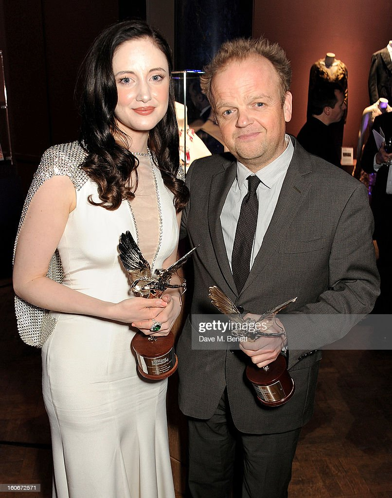 Andrea Riseborough (L) and Toby Jones attend the London Evening Standard British Film Awards supported by Moet & Chandon and Chopard at the London Film Museum on February 4, 2013 in London, England.