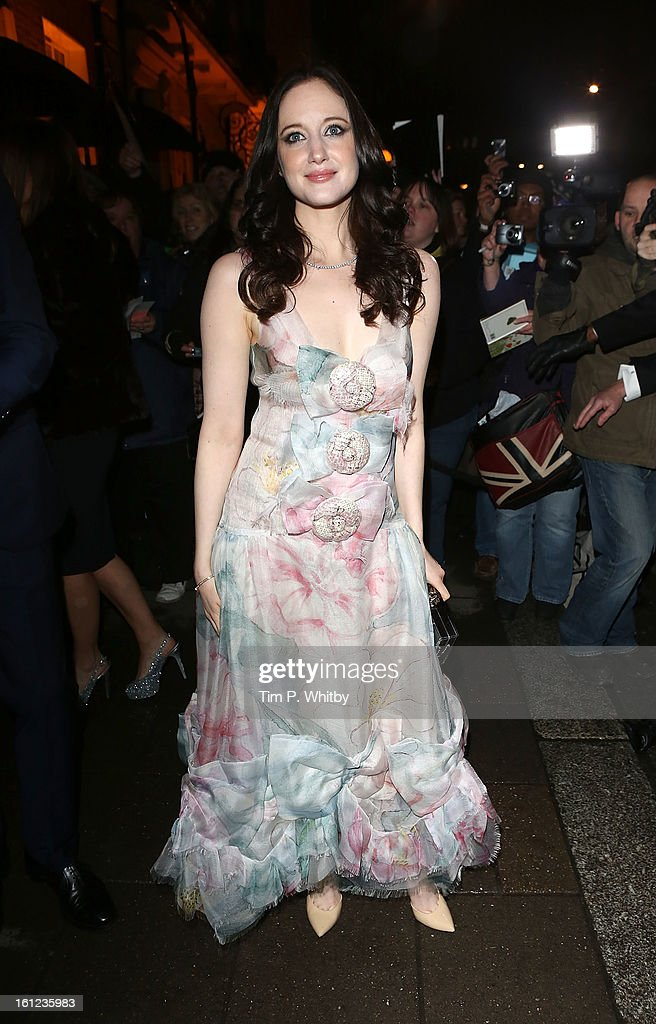 Andrea Riseborough attends the Charles Finch and Chanel pre-BAFTA dinner at Annabels on February 9, 2013 in London, England.