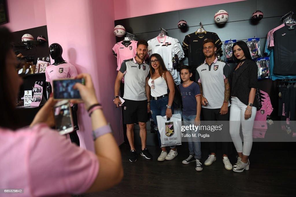 Andrea Rispoli and Alessandro Diamanti visit Club Store at Renzo Barbera Stadium on May 19, 2017 in Palermo, Italy.
