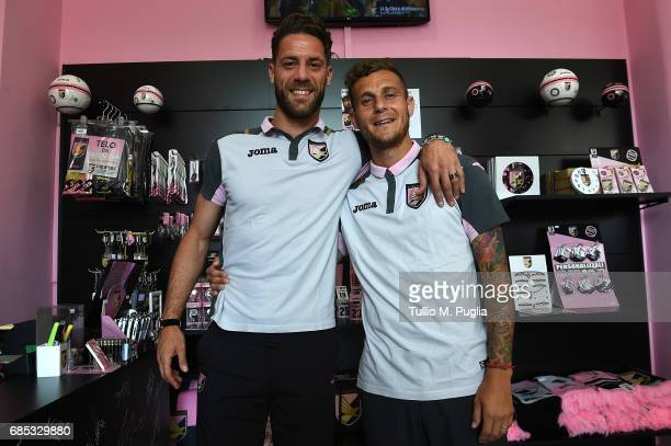 Andrea Rispoli and Alessandro Diamanti visit Club Store at Renzo Barbera Stadium on May 19 2017 in Palermo Italy