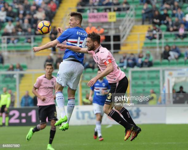 Andrea Rispoli of Palermo competes for the ball with Patrick Schick of Sampdoria during the Serie A match between US Citta di Palermo and UC...