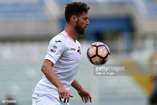 Andrea Rispoli of Palermo in action during the Serie A match between FC Crotone and US Citta di Palermo at Adriatico Stadium on September 18 2016 in...