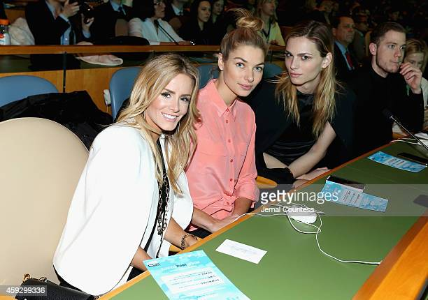 Andrea Rogers Jessica Hart and Andreja Pejic attend the UNICEF launch of the #IMAGINE Project to celebrate the 25th Anniversary of the rights of a...