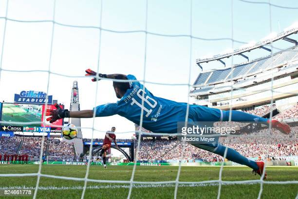 Andrea Romagnoli of Roma takes a shot against Carlo Pinsoglio of Juventus during the International Champions Cup 2017 match at Gillette Stadium on...