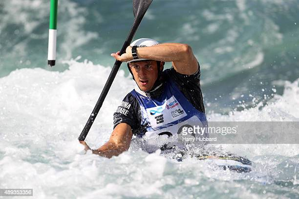 Andrea Romeo of Italy in action during the Mens Final Kayak at Lee Valley White Water Centre at Lee Valley White Water Centre on September 20 2015 in...