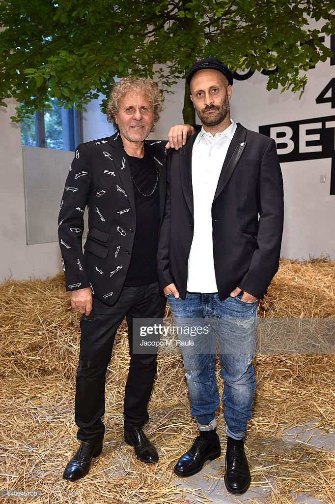 Andrea Rosso and Renzo Rosso attend Renzo Rosso And OTB Launch 'Radical Renaissance 555' Book on June 17 2016 in Milan Italy